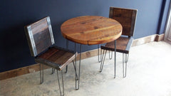 Reclaimed Round restaurant table with 2 industrial chairs