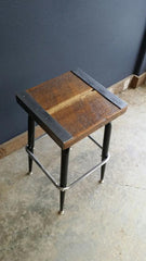Reclaimed Antique Barnwood Rustic Industrial Bar Stool