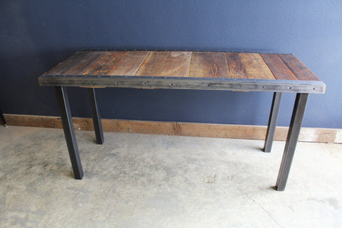 30x48 Industrial Dining Table with raw steel trim and straight steel legs