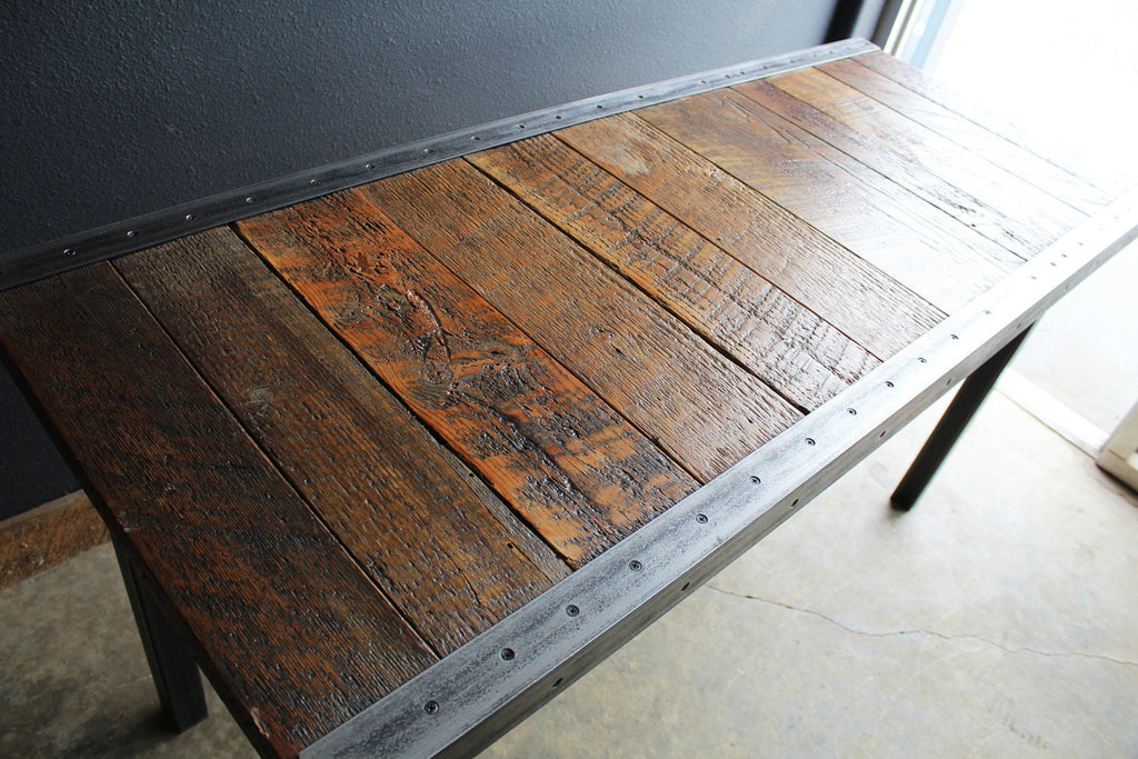 X Industrial Dining Table With Raw Steel Trim And Straight - 30 x 60 dining table