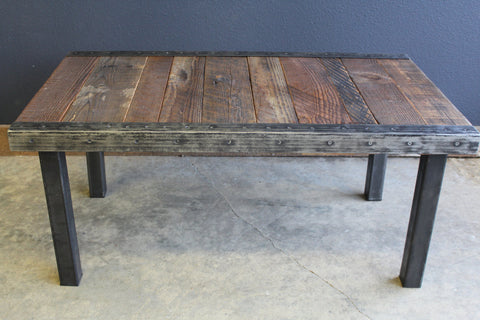 Custom Straight Steel Leg Coffee Table with Antique Barnwood