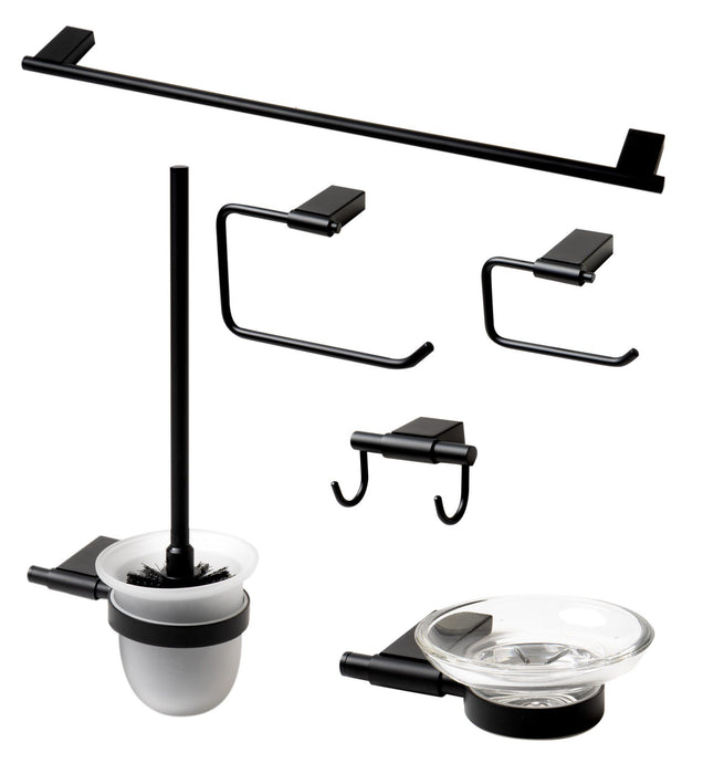 Accessory Set - Black Matte 6 Piece Bath Accessory Set