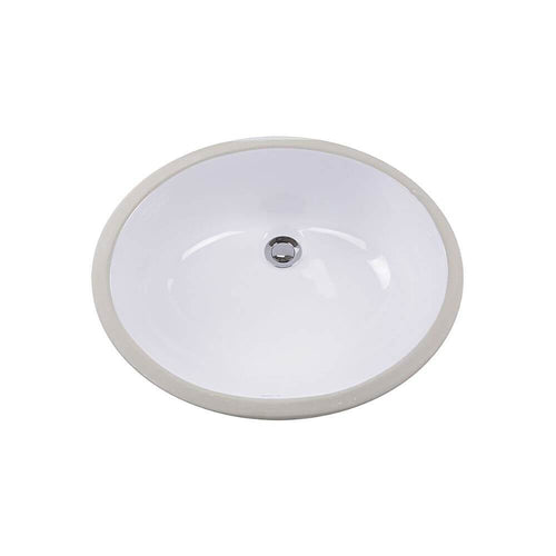 Bathroom Sink - Nantucket Sinks 15 Inch X 12 Inch White Glazed Bottom Undermount GB-15x12-W Oval Ceramic Sink