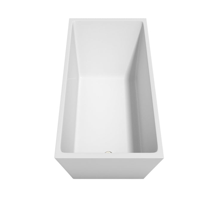 "Bathtub - Hannah 59"" Soaking Bathtub In White, Brushed Nickel Trim, And Brushed Nickel Floor Mounted Faucet"