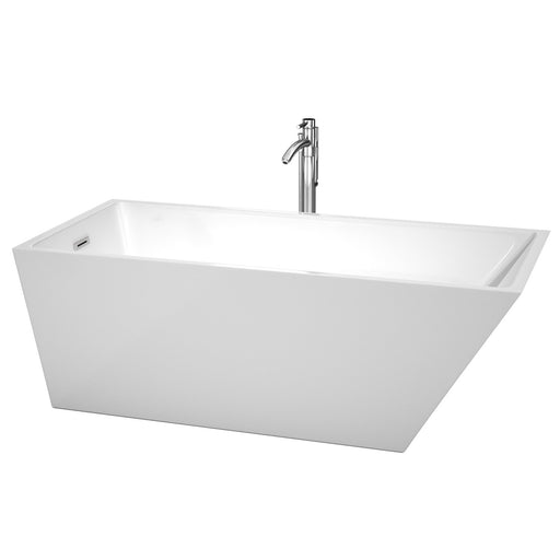 "Bathtub - Hannah 67"" Freestanding Bathtub In White With Floor Mounted Faucet, Drain And Overflow Trim In Polished Chrome"