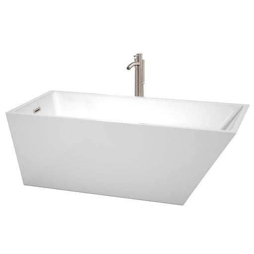"Bathtub - Hannah 67"" Soaking Bathtub In White, Brushed Nickel Trim, And Brushed Nickel Floor Mounted Faucet"