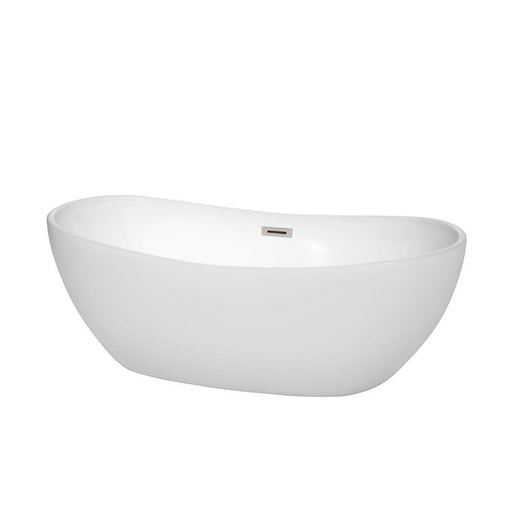 "Bathtub - Rebecca 65"" Freestanding Bathtub In White With Brushed Nickel Drain And Overflow Trim"