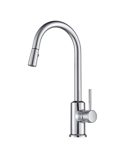 Kitchen Faucet - Stufurhome Brighton Kitchen Faucet W/ Spray Head Gooseneck Chrome Single Lever Mixer