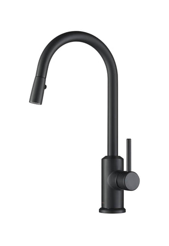 Kitchen Faucet - Stufurhome Brighton Kitchen Faucet W/ Spray Head Gooseneck Matte Black Single Lever Mixer