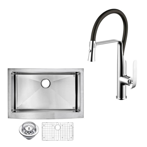 "Kitchen Sink - 30"" X 22"" 15mm Corner Radius Single Bowl Stainless Steel Hand Made Apron Front Kitchen Sink W/ Drain, Strainer, Bottom Grid, And Single Hole Faucet"