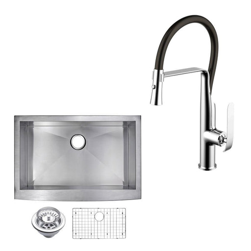 "Kitchen Sink - 30"" X 22"" Zero Radius Single Bowl Stainless Steel Hand Made Apron Front Kitchen Sink W/ Drain, Strainer, Bottom Grid, And Single Hole Faucet"
