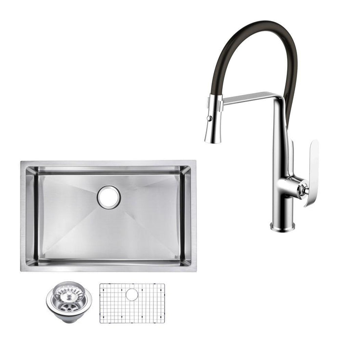 "Kitchen Sink - 32"" X 19"" 15mm Corner Radius Single Bowl Stainless Steel Hand Made Undermount Kitchen Sink W/ Drain, Strainer, Bottom Grid, And Single Hole Faucet"