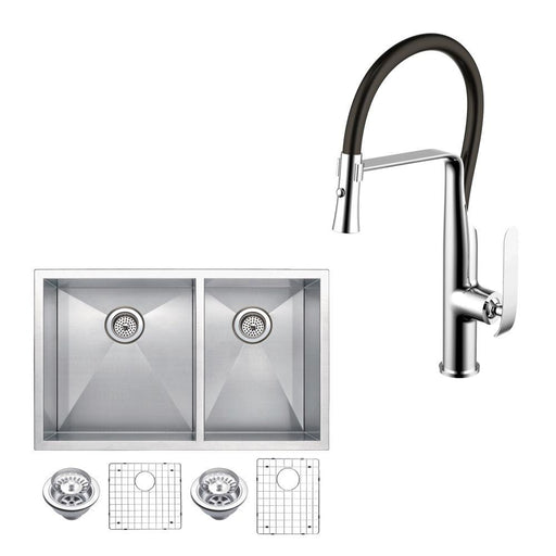 "Kitchen Sink - 33"" X 20"" Zero Radius 60/40 Double Bowl Stainless Steel Hand Made Undermount Kitchen Sink W/ Drains, Strainers, Bottom Grids, And Single Hole Faucet"