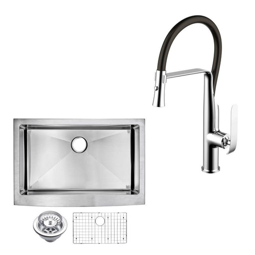 "Kitchen Sink - 36"" X 22"" 15mm Corner Radius Single Bowl Stainless Steel Hand Made Apron Front Kitchen Sink W/ Drain, Strainer, Bottom Grid, And Single Hole Faucet"