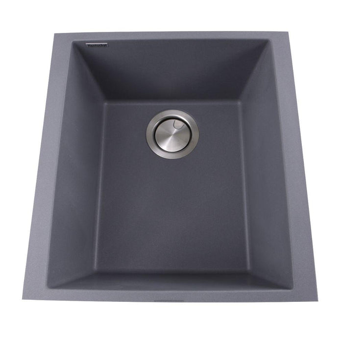 "Kitchen Sink - Nantucket Sinks 17"" Single Bowl Undermount Granite Composite Bar-Prep Sink Titanium"