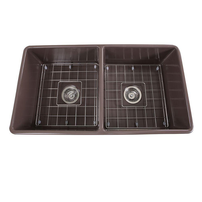 "Kitchen Sink - Nantucket Sinks 33"" Double Bowl Coffee Brown Farmhouse Fireclay Kitchen Sink T-FCFS33CB-DBL"
