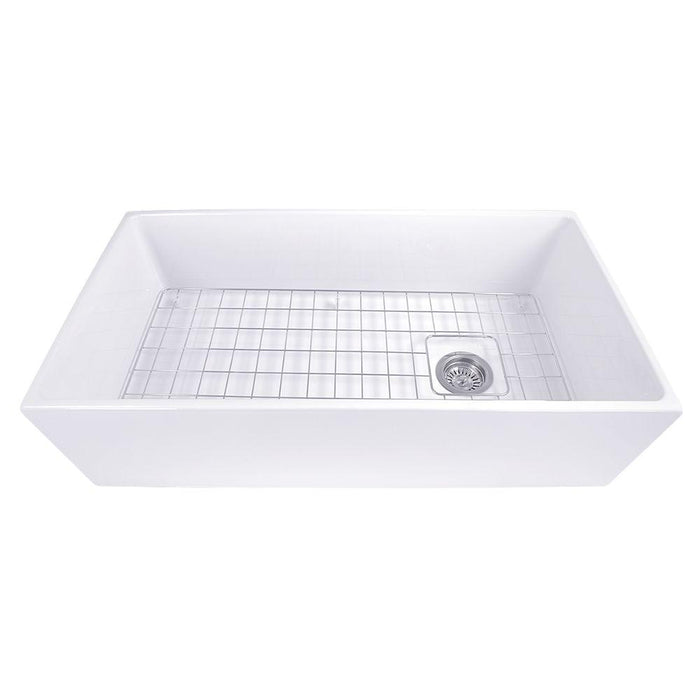 "Kitchen Sink - Nantucket Sinks 36"" Farmhouse Fireclay Sink With Offset Drain And Grid"