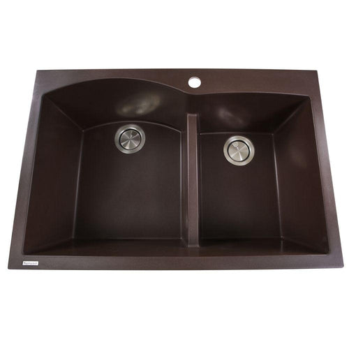 Kitchen Sink - Nantucket Sinks 60/40 Double Bowl Dual-mount Granite Composite Brown