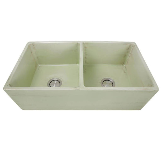 Kitchen Sink - Nantucket Sinks Double Bowl Farmhouse Fireclay Sink With Shabby Green Finish