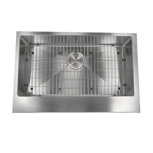 Kitchen Sink - Nantucket Sinks' EZApron33-5.5 Patented Design Pro Series Single Bowl Undermount Stainless Steel Kitchen Sink W/ 5.5