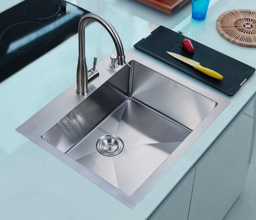 "Kitchen Sink - Stufurhome 25"" Overmount Stainless Steel 2-Hole Single Bowl Kitchen Sink"