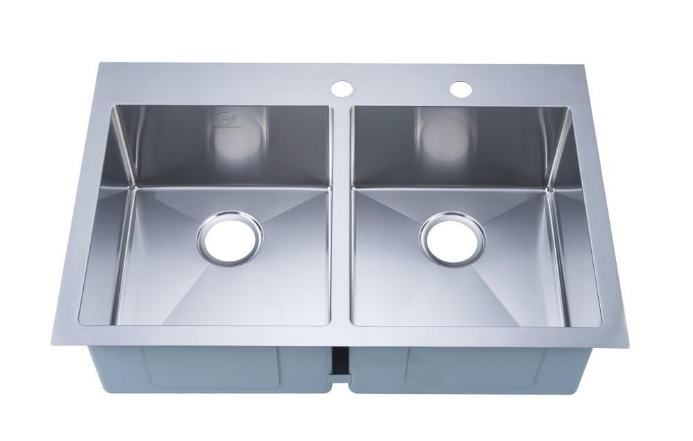 "Kitchen Sink - Stufurhome 33"" Stainless Steel Overmount 2-Hole Double Bowl Kitchen Sink"