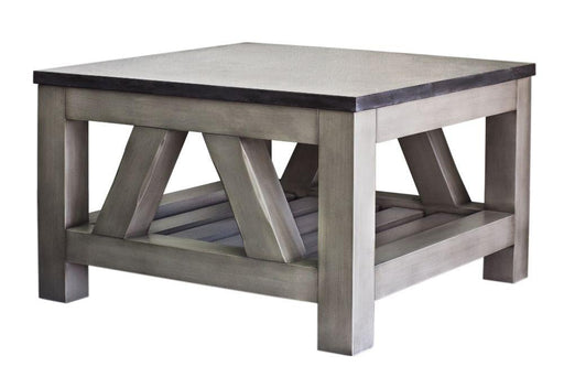 "Table - Aberdeen Collection 27"" X 27"" Blue Limestone Top Coffee Table In Grizzle Grey Distressed Finish"