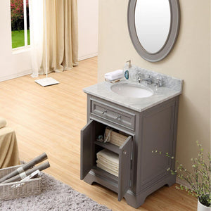 "Vanity - 24"" Cashmere Grey Single Sink Bathroom Vanity W/ Matching Framed Mirror From The Derby Collection"