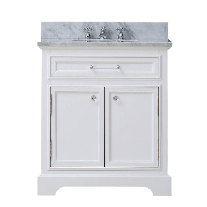 "Vanity - 24"" Pure White Single Sink Bathroom Vanity W/ Matching Framed Mirror And Faucet From The Derby Collection"
