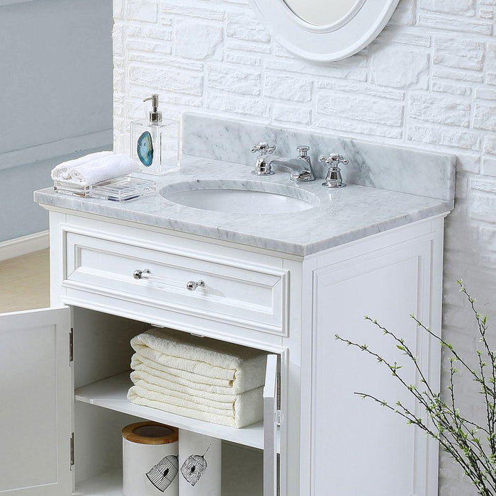 "Vanity - 30"" Pure White Single Sink Bathroom Vanity W/ Faucet From The Derby Collection"