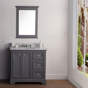 "Vanity - 36"" Wide Cashmere Grey Single Sink Carrara Marble Bathroom Vanity W/ Matching Mirror And Faucet(s) From The Derby Collection"