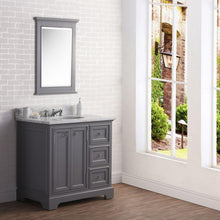 "Load image into Gallery viewer, Vanity - 36"" Wide Cashmere Grey Single Sink Carrara Marble Bathroom Vanity W/ Matching Mirror And Faucet(s) From The Derby Collection"