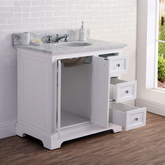 "Vanity - 36"" Wide Pure White Single Sink Carrara Marble Bathroom Vanity W/ Matching Mirror And Faucet(s) From The Derby Collection"