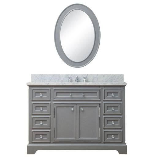 "Vanity - 48"" Cashmere Grey Single Sink Bathroom Vanity W/ Matching Framed Mirror And Faucet From The Derby Collection"