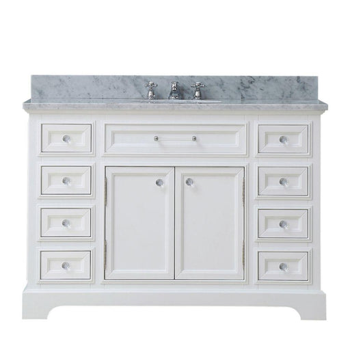 "Vanity - 48"" Pure White Single Sink Bathroom Vanity W/ Faucet From The Derby Collection"