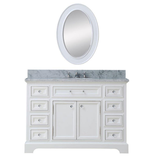 "Vanity - 48"" Pure White Single Sink Bathroom Vanity W/ Matching Framed Mirror And Faucet From The Derby Collection"