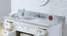 "Load image into Gallery viewer, Vanity - 48"" Pure White Single Sink Bathroom Vanity W/ Matching Framed Mirror From The Derby Collection"