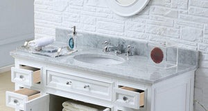 "Vanity - 48"" Pure White Single Sink Bathroom Vanity W/ Matching Framed Mirror From The Derby Collection"