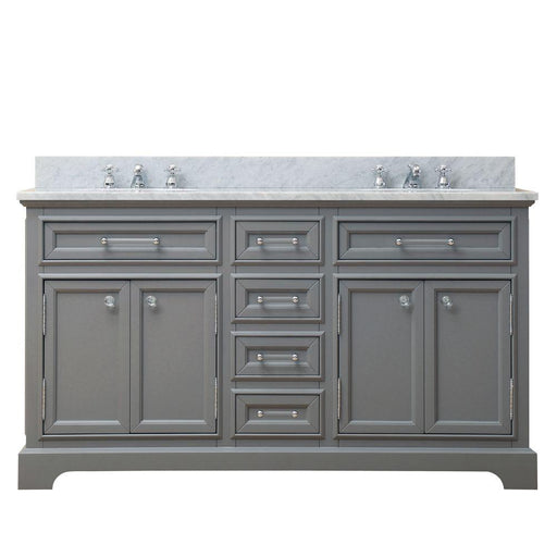 "Vanity - 60"" Cashmere Grey Double Sink Bathroom Vanity W/ Faucet From The Derby Collection"