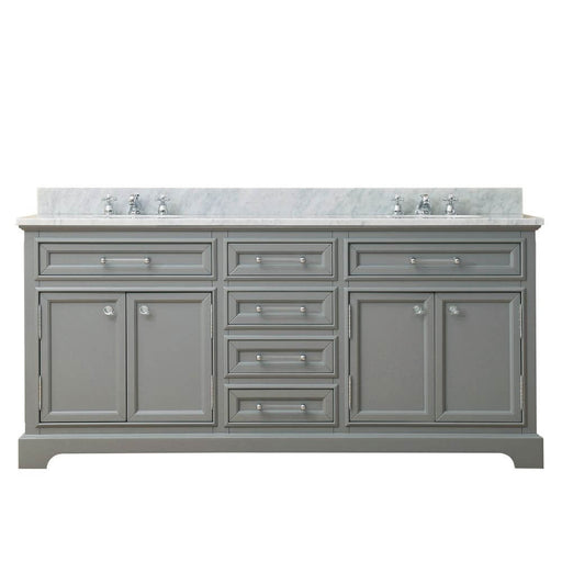 "Vanity - 72"" Cashmere Grey Double Sink Bathroom Vanity W/ Faucet From The Derby Collection"
