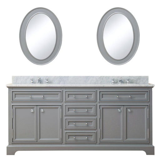 "Vanity - 72"" Cashmere Grey Double Sink Bathroom Vanity W/ Matching Framed Mirrors And Faucets From The Derby Collection"