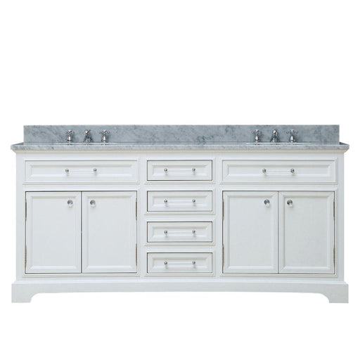 "Vanity - 72"" Pure White Double Sink Bathroom Vanity W/ Faucet From The Derby Collection"