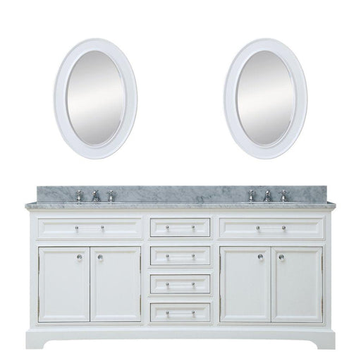 "Vanity - 72"" Pure White Double Sink Bathroom Vanity W/ Matching Framed Mirrors And Faucets From The Derby Collection"