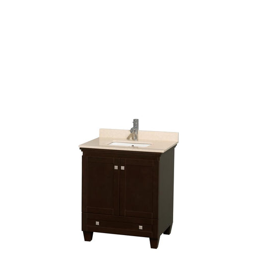 "Vanity - Acclaim 30"" Single Bathroom Vanity In Espresso, Ivory Marble Countertop, Undermount Square Sink, And No Mirror"