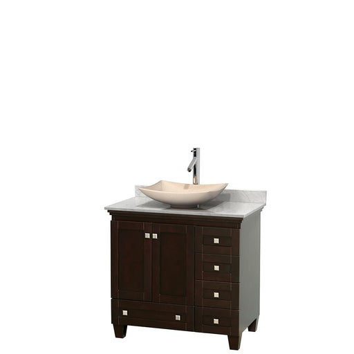 "Vanity - Acclaim 36"" Single Bathroom Vanity In Espresso, White Carrara Marble Countertop, Arista Ivory Marble Sink, And No Mirror"