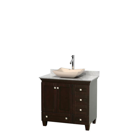 "Vanity - Acclaim 36"" Single Bathroom Vanity In Espresso, White Carrara Marble Countertop, Avalon Ivory Marble Sink, And No Mirror"