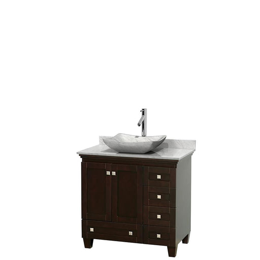 "Vanity - Acclaim 36"" Single Bathroom Vanity In Espresso, White Carrara Marble Countertop, Avalon White Carrara Marble Sink, And No Mirror"