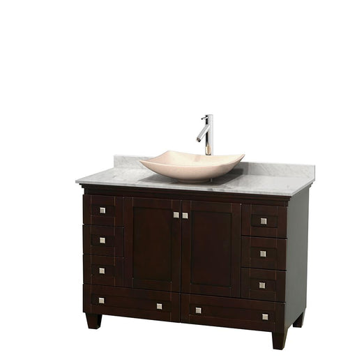 "Vanity - Acclaim 48"" Single Bathroom Vanity In Espresso, White Carrara Marble Countertop, Arista Ivory Marble Sink, And No Mirror"