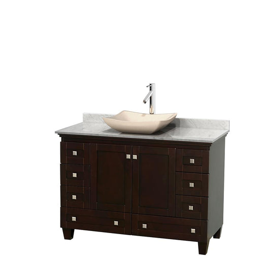"Vanity - Acclaim 48"" Single Bathroom Vanity In Espresso, White Carrara Marble Countertop, Avalon Ivory Marble Sink, And No Mirror"