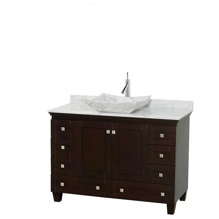 "Vanity - Acclaim 48"" Single Bathroom Vanity In Espresso, White Carrara Marble Countertop, Avalon White Carrara Marble Sink, And No Mirror"